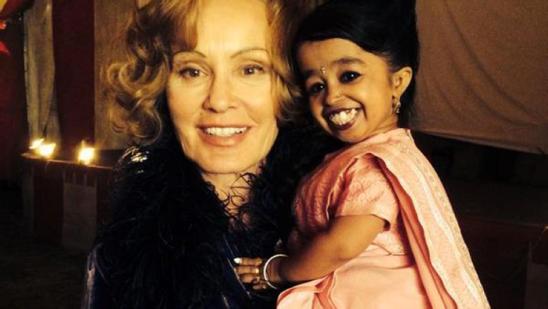 Jessica Lange and Jyoti Amge (Paraplegic and world's smallest woman)