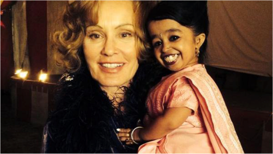 Jessica Lange and Jyoti Amge (Paraplegic and world's smallest woman)