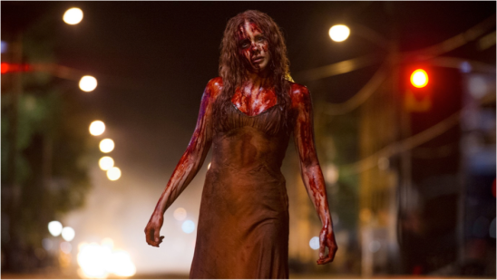 This is Carrie just after she unleashed hell and killed the majority of her school year. She was voted prom queen but her wonderment soon turned to disbelief when she was covered in pigs' blood. Her path of destruction continues.